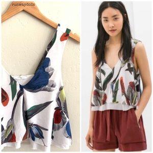 Zara | Mixed Media Flowy Floral Crop Top Sz Small